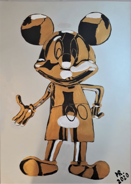 Mickey Mouse-metal sculpture. - Painting,  27.6x19.7 in, ©2020 by Marie Ruda -                                                                                                                                                                                                                                                                                                                                                                                                                                                                                                                                              Figurative, figurative-594, Celebrity, artwork_cat.Classical mythology, Mickey Mouse, mouse, animal, animals, gold, silver, black