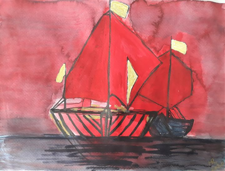 Red sunset. - Painting,  9.5x12.6 in, ©2020 by Marie Ruda -                                                                                                                                                                                                                                                                                                                                                                                                                                                                                                  Land Art, land-art-957, Boat, Seascape, boat, boats, water, sea, ocean, red