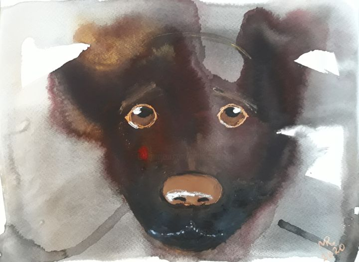 Monotiping-4;Sad  eyes. - Painting,  9.5x12.6 in, ©2020 by Marie Ruda -                                                                                                                                                                                                                                                                                                                                                                                                                                                                                                                                              Figurative, figurative-594, artwork_cat.Dogs, monotiping, monotypie, hund, animal, animals, watercolor, dogs, dog