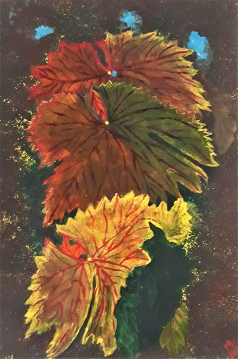 """Painting titled """"Autumn grape leaves."""" by Marie Ruda, Original Art, Acrylic"""
