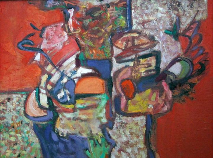 Composition - Painting,  28x27 cm ©2004 by Marina Valtcheva -                        Expressionism