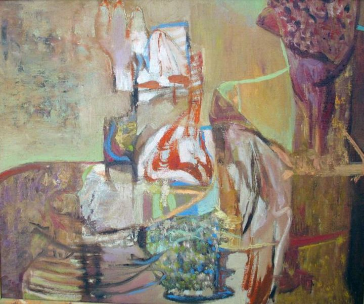 Protection - Painting,  55x46 cm ©2004 by Marina Valtcheva -                            Expressionism, Array