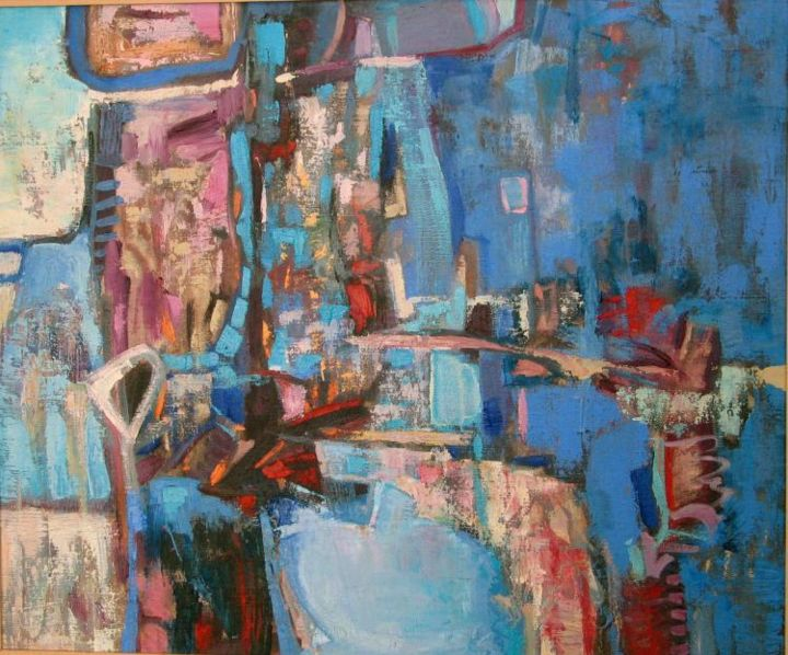 Road up - Painting,  46x55 cm ©2004 by Marina Valtcheva -                            Expressionism, Array