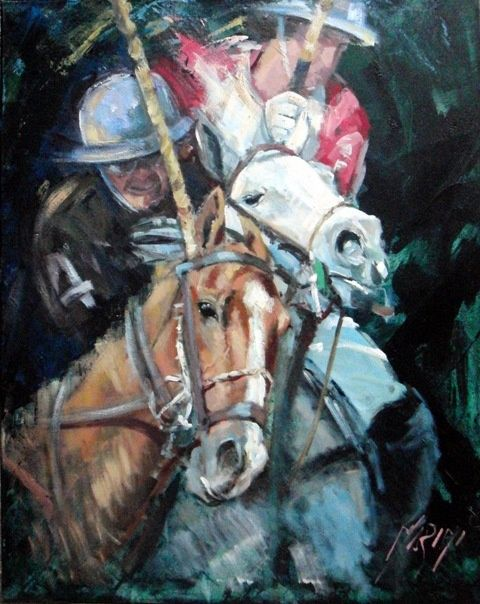 La Pechada 1 - Painting,  1 cm ©2011 by Marini Gabriela -                            Abstract Expressionism, polo horses pechada, painting, cuadro, acction, accion