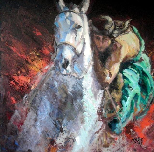 Raices - Painting,  1x1 cm ©2011 by Marini Gabriela -                            Abstract Expressionism, indio Argentino a caballo indigena indian horses raza raices