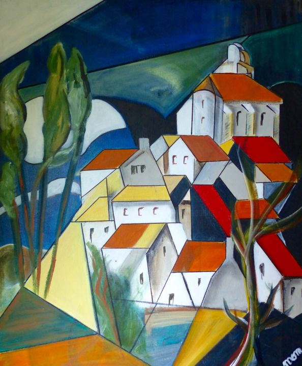 Village 1 - Painting,  73x60x1.5 cm ©2016 by MOM -                                                            Cubism, Canvas, Landscape, village