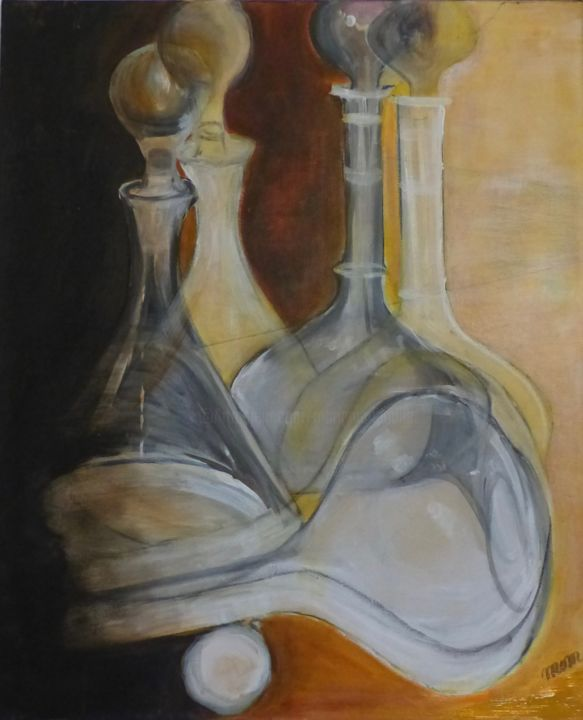 Mes carafes - Painting,  73x60x1.5 cm ©2013 by MOM -                                                            Figurative Art, Canvas, Still life, transparence, nature morte, lumière