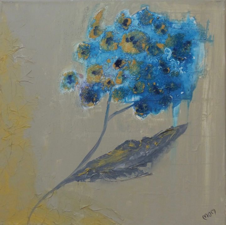Hortensia - Painting,  65x45x1.5 cm ©2012 by MOM -                                                            Abstract Art, Canvas, Flower, fleur, bleu