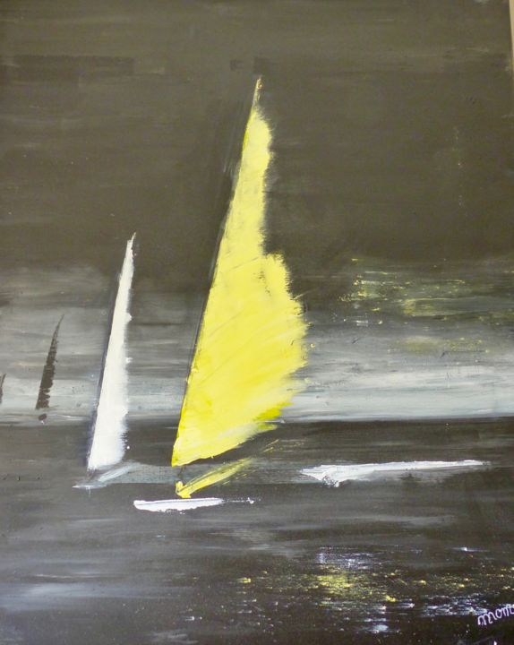 Voilier jaune - Painting,  73x60x2 cm ©2018 by MOM -                                                            Contemporary painting, Canvas, Sailboat, voilier, mer, gris
