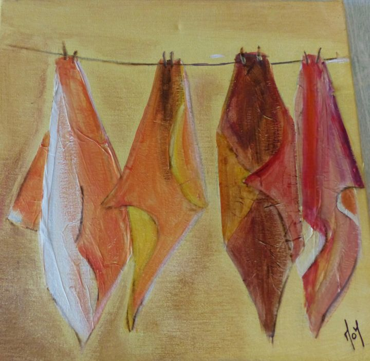 Torchons de cuisine. - Painting,  30x30x2 cm ©2015 by MOM -                                                            Figurative Art, Canvas, Kitchen, objets ordinaires