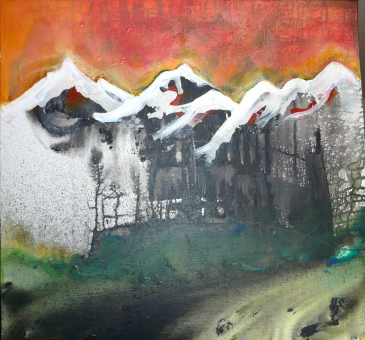 Nos sommets. - Painting,  60x60x2 cm ©2014 by MOM -                            Mountainscape, montagne, alpes