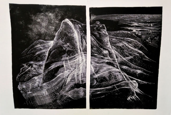 Veil - Printmaking,  25.2x36.2 in, ©2020 by Mario Bazel -                                                                                                                                                                                                                                                                                                                                                                                                                                                                                                                                                                                                                                                                                                                                                                                                                                                                                                                                                                                                                                                                                                                                                                                                                                                                              Abstract, abstract-570, Abstract Art, Black and White, Landscape, Nature, People, Abstract print art, ink on paper art, Landscape painting, linocut artwork, original artwork, handmade artwork, abstract painting art, mountainscape print, black and white aesthetic, wall decor for office, wall decor for home, figurative composition, xylography print, large size print, gravure artwork, sketch artwork, drawing abstract, contemporary art, modern art, illustration art