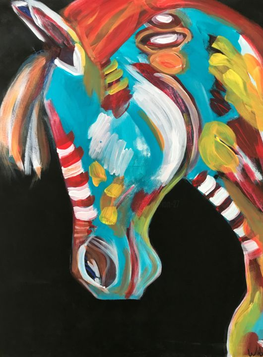 """Painting titled """"Candy horse 1"""" by Marion Witschel, Original Art, Acrylic"""