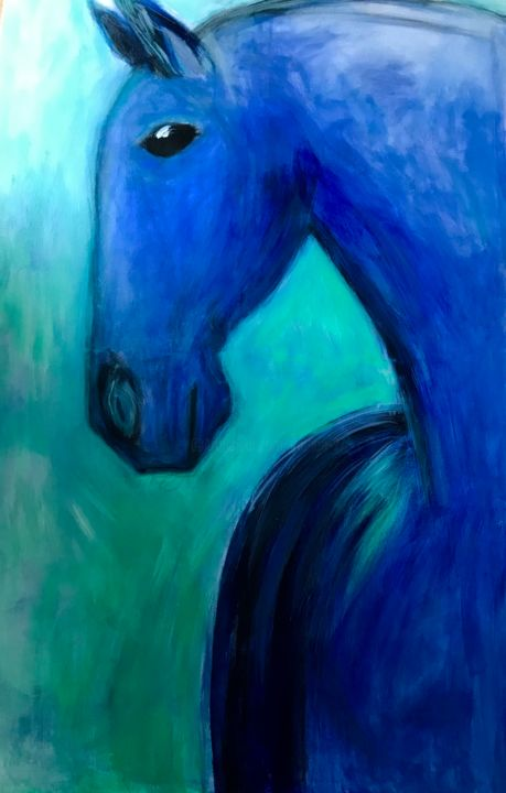 """Painting titled """"Blue horse (XL)"""" by Marion Witschel, Original Art, Acrylic"""