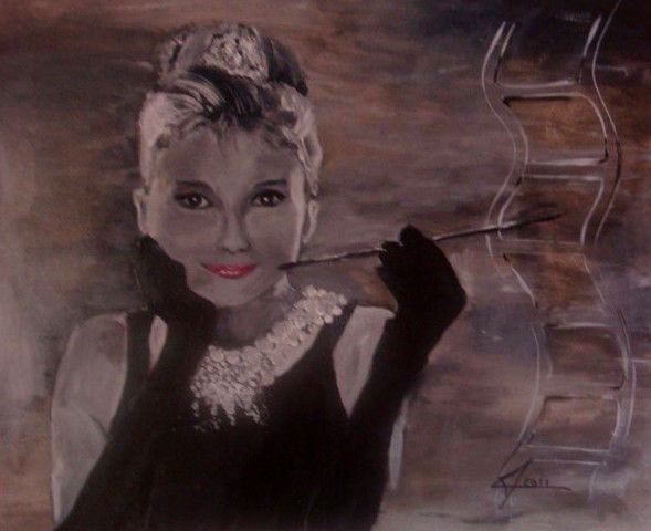 """Painting titled """"Audrey Hepburn"""" by Marion Chevalier, Original Art,"""