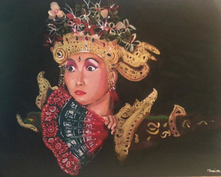 """Painting titled """"spectacle à Java"""" by Marion Chevalier, Original Art,"""