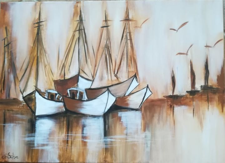 ambiance-sepia.jpg - Painting,  50x70x1.5 cm ©2019 by Marischa -                        Cotton