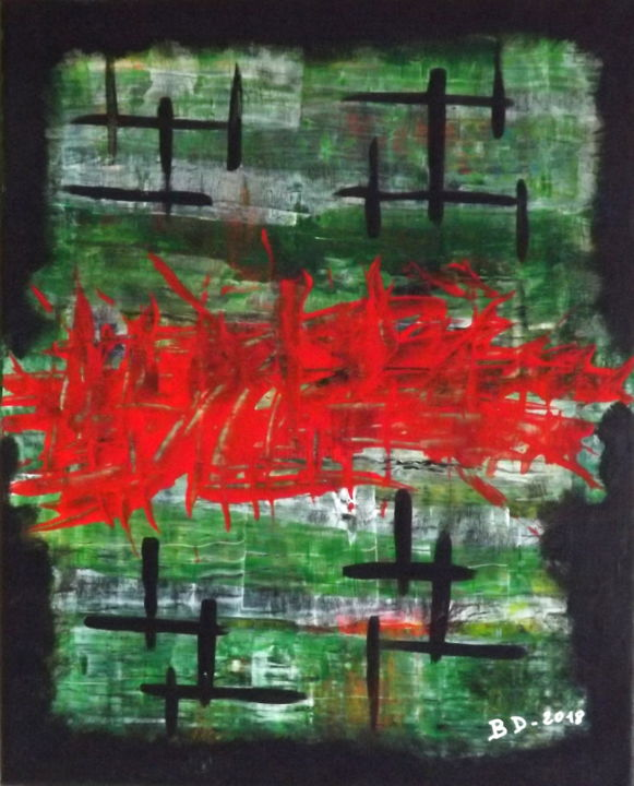 Guerres et Paix (War and peace) - Painting,  16.1x13x0.8 in, ©2017 by Blanco46 -                                                                                                                                                                                                                                                                                                                                                                                                                                                          Abstract, abstract-570, Cotton, Abstract Art, rouge, vert, noir, paix, guerre
