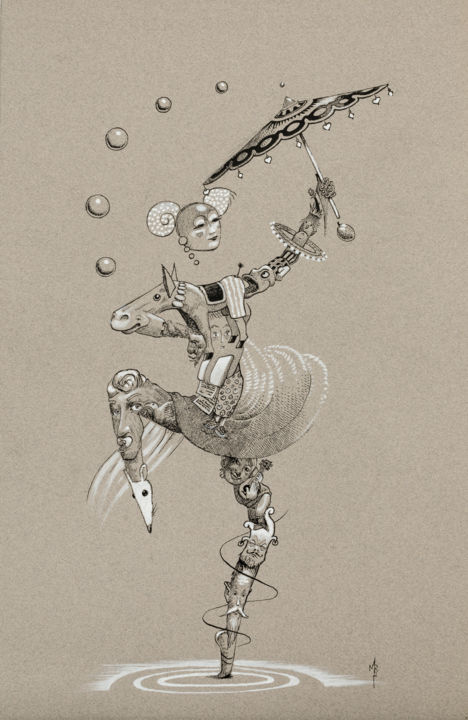 Danse Chinoise sous l'ombrelle - Drawing,  50x32 cm ©2018 by Vincent MARIT -                                                                                                        Surrealism, Symbolism, Animals, Performing Arts, Asia, Horses, Body, Femme, Danse, Chinoise, Asiatique, Ombrelle, Mouvement, Marit, Vincent Marit