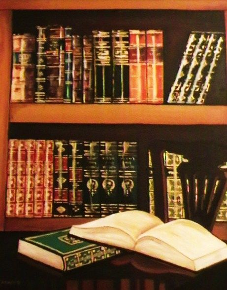 """Painting titled """"Home Library"""" by Marium Khan, Original Art,"""