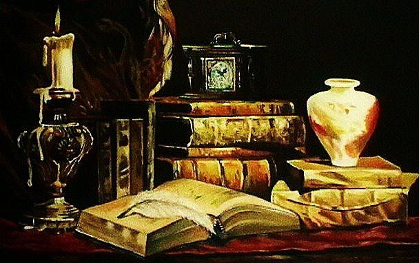 """Painting titled """"Book Read & Candle…"""" by Marium Khan, Original Art,"""