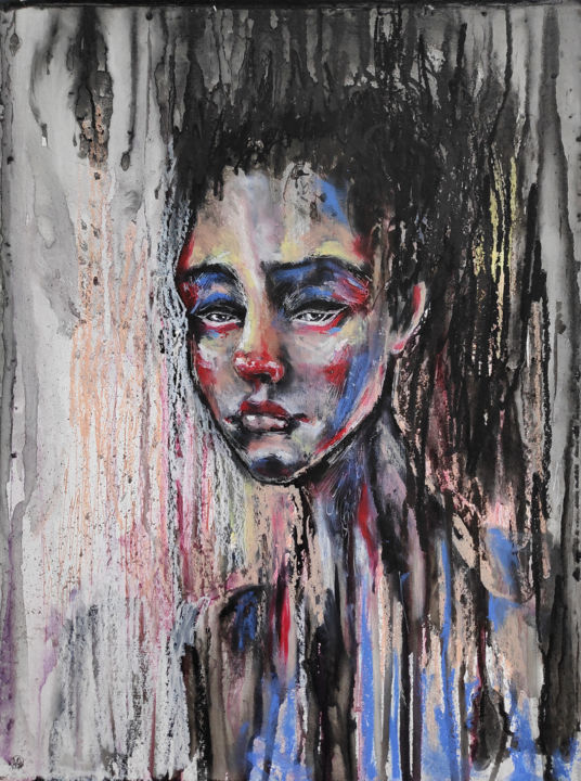 Delicate oil pastel portrait - Painting,  11.8x15.8 in, ©2019 by Mariya Markina -                                                                                                                                                                                                                                                                                                                                                                                                                                                                                                                                                                                                                                                                                                                                                                          Expressionism, expressionism-591, Spirituality, Women, Portraits, Mortality, Performing Arts, Portrait, eyes, portrait oil pastel, girl's face, paint stains, chaos, tenderness, red, black