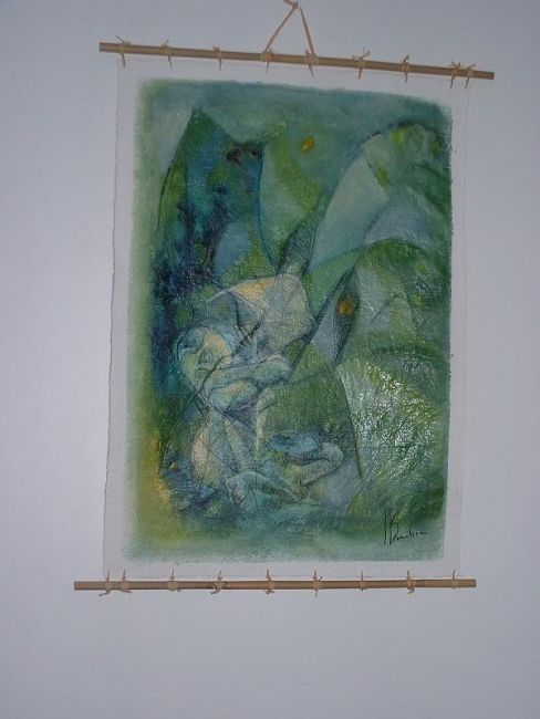 cariatide - Painting,  0.2x0.2 in, ©2007 by Isabelle Bonebeau -