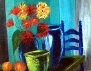 Nature morte aux dahlias - Painting ©2007 by Marjyne -