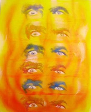 """Collages titled """"Wall Of Stare 2"""" by Mark Planisek, Original Art,"""