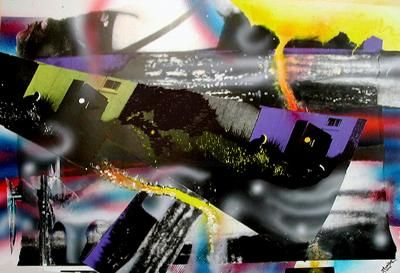 """Collages titled """"Electric Dream"""" by Mark Planisek, Original Art,"""
