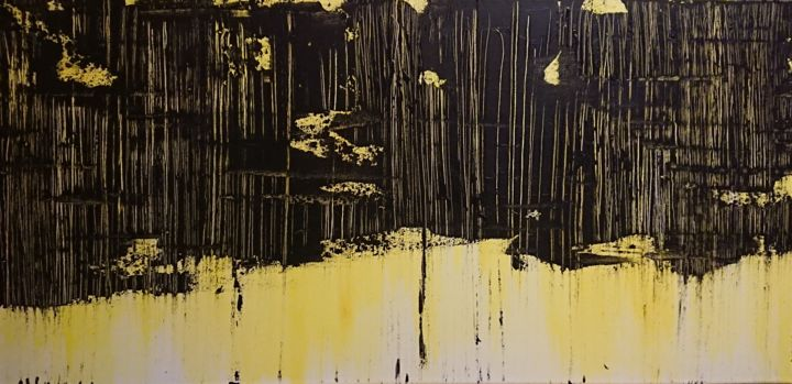 Sans titre - Painting,  15.8x31.5 in, ©2018 by Marlène Bonnaffé -                                                                                                                                                                                                                                                                                                                  Abstract, abstract-570, Abstract Art, Expressionisme abstrait, Jaune, Noir