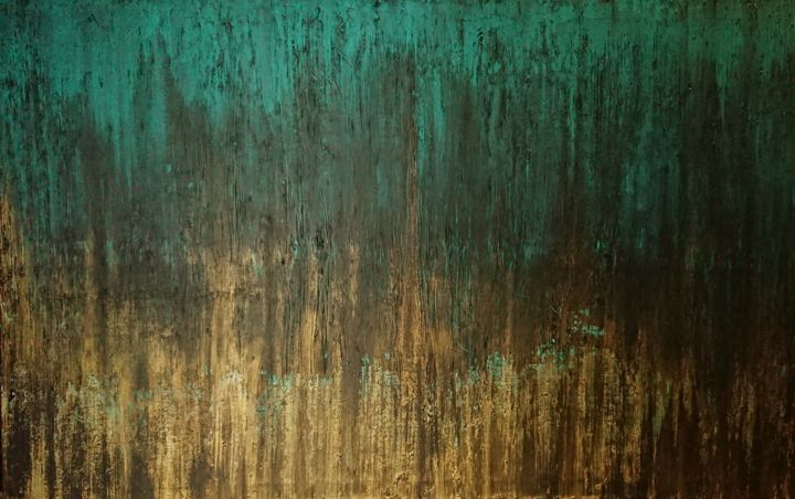 Gold it - Painting,  28.4x45.7 in, ©2018 by Marlène Bonnaffé -                                                                                                                                                                          Abstract, abstract-570, Abstract Art