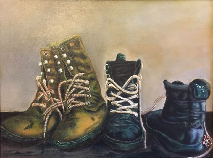 Old Boots - Malerei,  18x24x1 in, ©2018 von Michael Arnold -                                                                                                                                                                                                                                                                                                                                                                                                                                                                                                                                                                                                                                      Figurative, figurative-594, Kultur, boots, old boots, old shoes, clothing, americana. country clothes, clothes, footwear, farm shoes. farm boots, work boots, Michael Arnold art