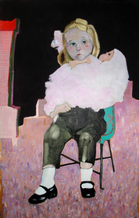 1964 - Marta y Tota - Painting,  146x89x4 cm ©2016 by Marta Grassi -                                                            Figurative Art, Canvas, Children, enfant, fille, 1964, poupée