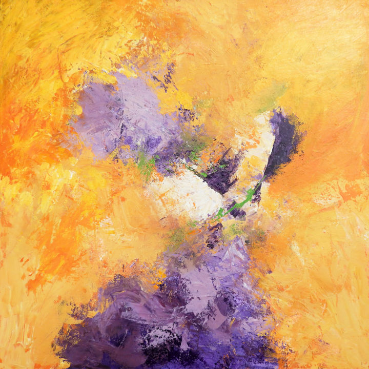 """Painting titled """"Lilacs in a Golden…"""" by Martha White, Original Art, Acrylic Mounted on Cardboard"""