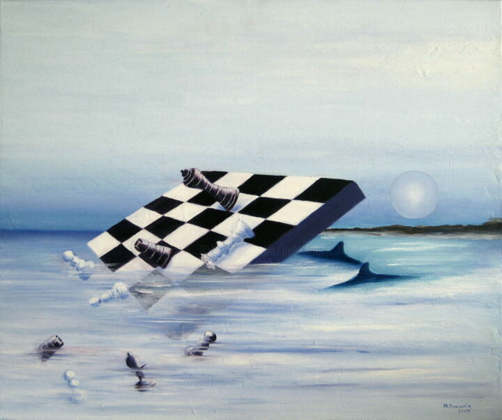 Seascape Painting, oil, surrealism, artwork by Martial Dumoulin