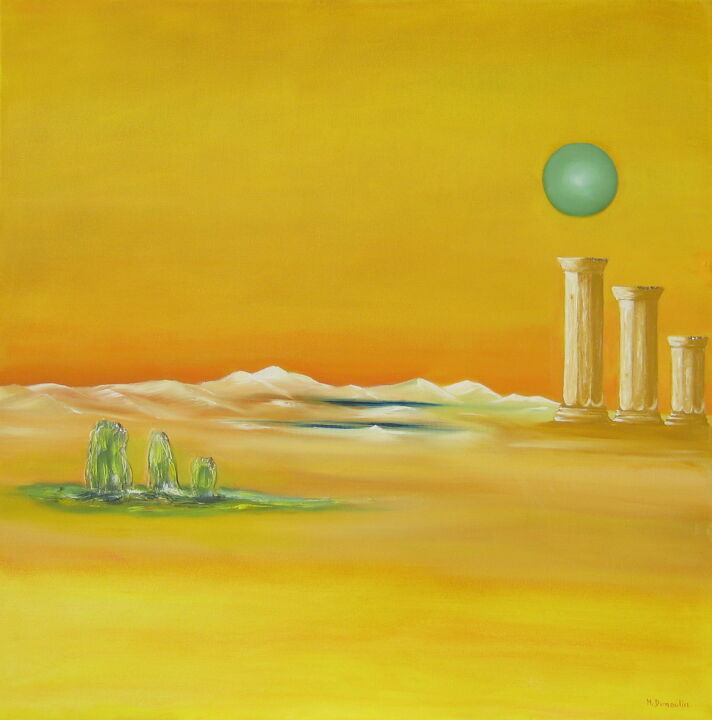 """ Vert de lune ""  / 60x60x4.5 cm - Painting,  60x60x4.5 cm ©2011 by Martial Dumoulin -                                                                        Surrealism, Canvas, Nature, Landscape, lune, verte, colone, mythologie, jaune"
