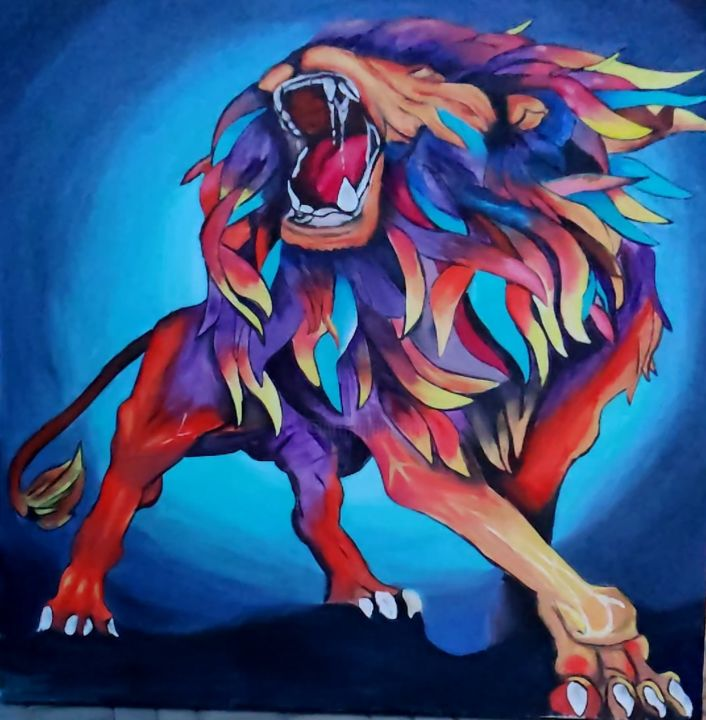 """Painting titled """"Lion France"""" by Martin France, Original Art, Oil"""