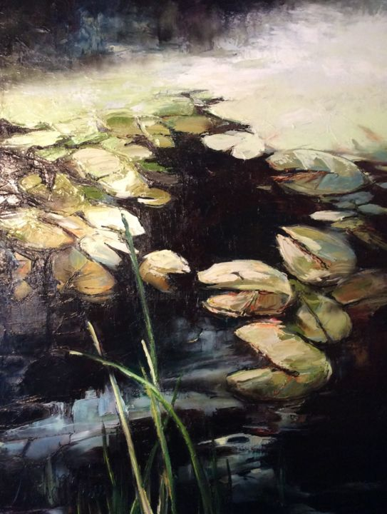 Lilly Pond - Painting,  18.9x14.2x0.8 in, ©2020 by Martine -