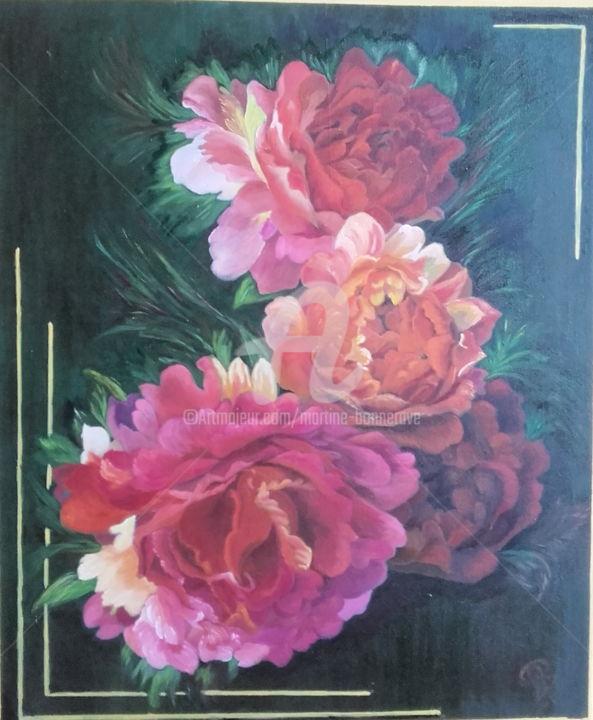 Roses Anciennes - Painting,  60x50 cm ©2017 by Martine BONNERAVE -                                                        Figurative Art, Canvas, Flower