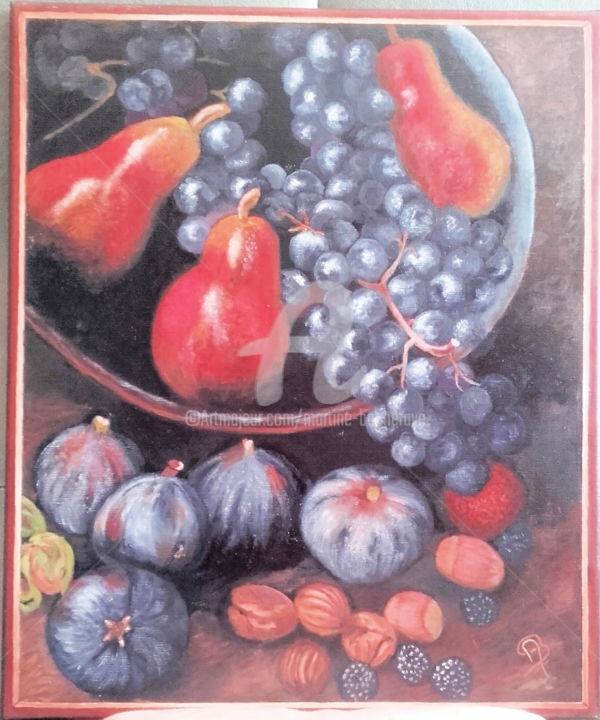 Fruits d'Automne - Painting,  21.7x18.1 in, ©2017 by Martine Bonnerave -                                                                                                                          Figurative, figurative-594