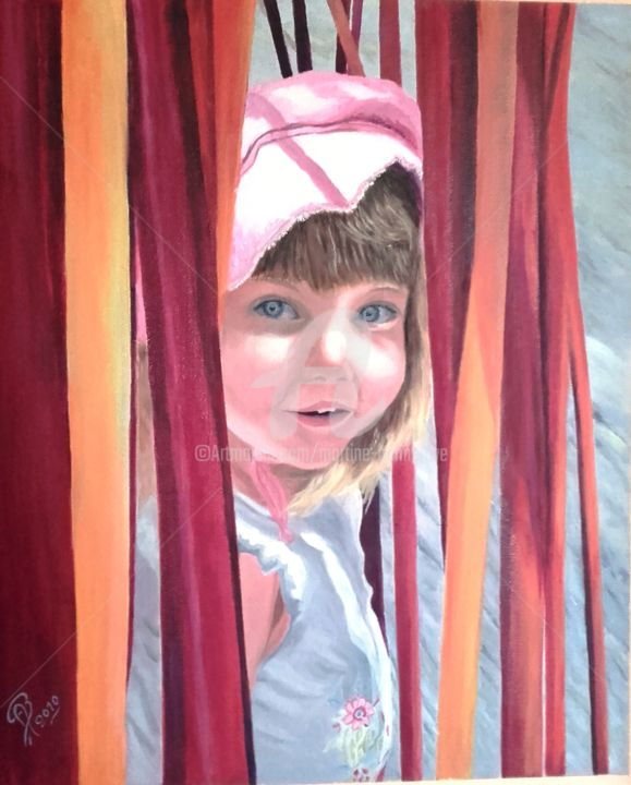 Petite Fille T. - Painting, ©2010 by Martine Bonnerave -                                                              Portraits