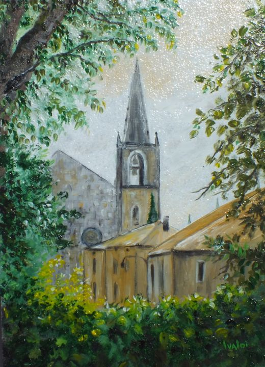Eglise de Goudargues - Painting,  22x16 cm ©2017 by Martine IVALDI -                                                                                                                                                            Figurative Art, Impressionism, Realism, Wood, Tree, Rural life, Home, Nature, Landscape, Religion, Cities, village, Eglise