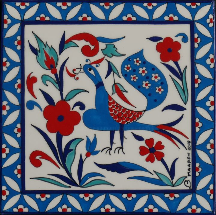 ceramique-paon-art003.jpg - Artcraft,  20x20x0.8 cm ©2018 by Martine Maarek -                                                            Figurative Art, Ceramic, Birds, oriental, iznik, turc, oiseau, paon, fleurs, bleu, carreau, turquoise, céramique