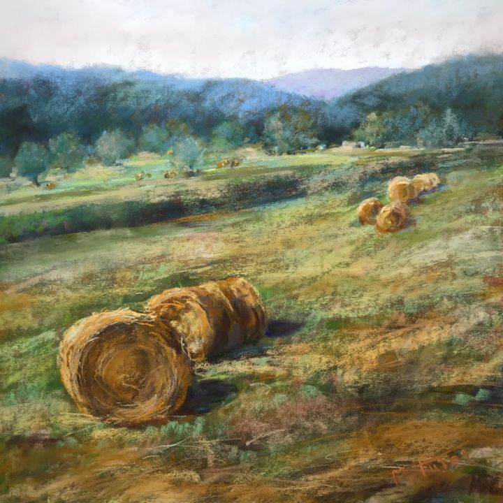 Haystack Poetry - Painting,  11.8x11.8 in, ©2018 by Martine Tulet -                                                                                                                                                                                                                                                                                                                                                                                                                                                                                                                                                                                          Impressionism, impressionism-603, Landscape, haystack, frenchlandscape, summer, field, campagne, champs, fineart, art, pastelpainting