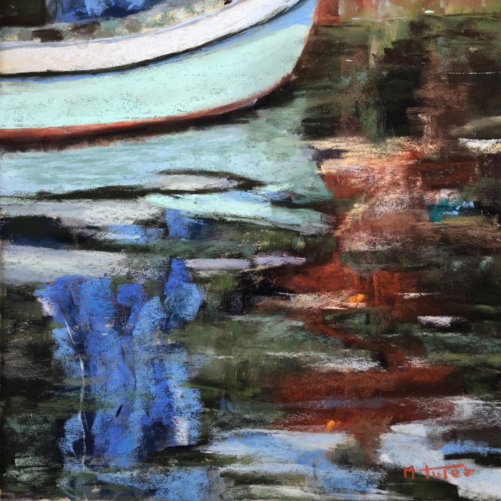 Color Feast - Painting,  11.8x11.8 in, ©2018 by Martine Tulet -                                                                                                                                                                                                                                                                                                                                                                                                                                                                                                                                                                                          Impressionism, impressionism-603, Landscape, abstract, sea, boat, reflection, reflexion, brightcolors, art, fineart, pastelpainting