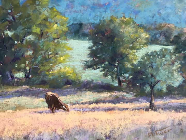 Peaceful New Day! - Painting,  30x40 cm ©2019 by Martine Tulet -                                                                                Impressionism, Animals, Landscape, Nature, Tree, paysage, landscape, fineart, art, painting, pastelpainting, artist, countryside, cows, animals, morninglight, lumieredumatin