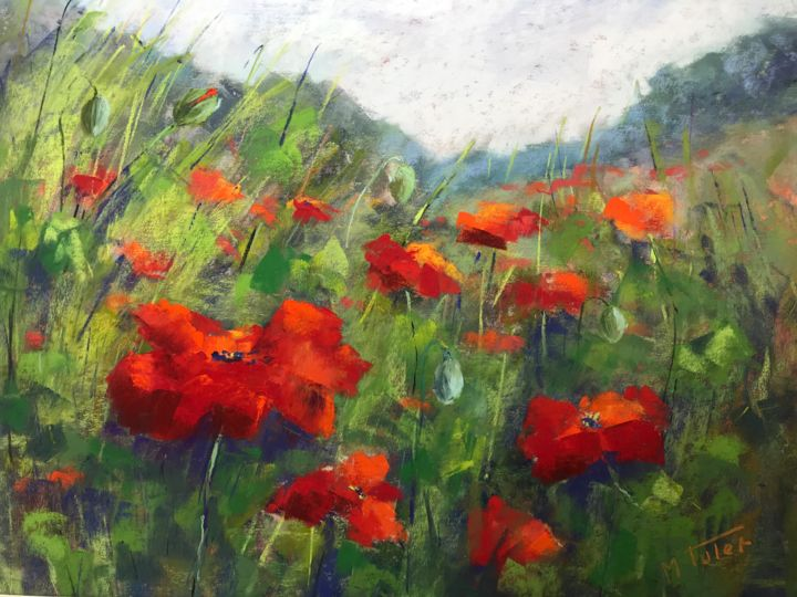Poppies in the Valley - Painting,  11.8x15.8x0.4 in, ©1979 by Martine Tulet -                                                                                                                                                                                                                                                                                                                                                                                                                                                                                                                                                                                                                                                                                                                                                                                                                                                                                                                                                                                                                                                  Impressionism, impressionism-603, Botanic, Flower, Landscape, Light, Nature, landscape, paysage, flowers, poppies, fleurs, coquelicots, vallée, field, champs de fleurs, rouge, printemps, nature, impressionist, fineart, pastelpainting
