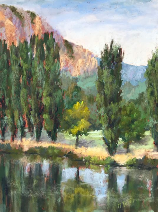 Riverside and popplers - Painting,  19.7x15.8 in, ©2019 by Martine Tulet -                                                                                                                                                                                                                                                                                                                                                                                                                                                                                                                                                                                                                                                                                                                                                                                                                                                                                                                                                          Impressionism, impressionism-603, Landscape, Nature, Outer Space, Seasons, landscape, fineart, paysage, trees, popplers, peupliers, nature, river, reflection, rivière, été, summer, bordderiviere, impressionisme