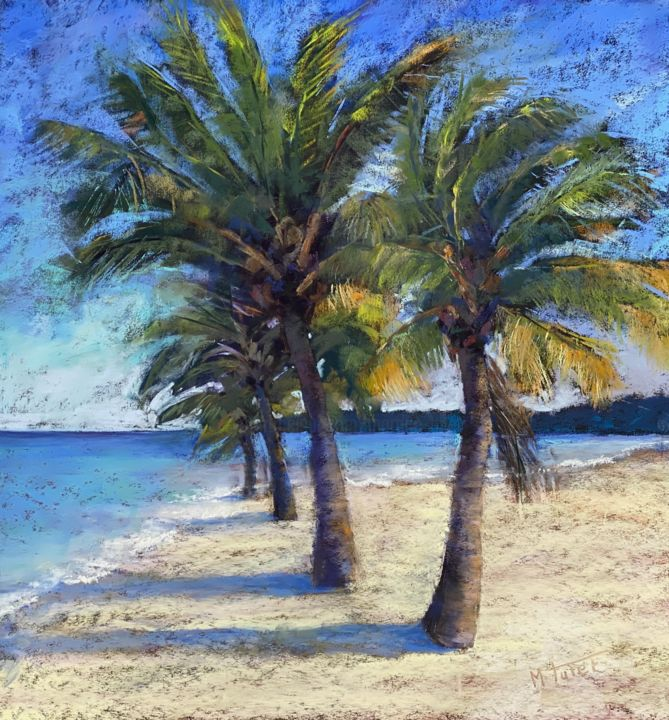 Palm Tree Island - Painting,  19.7x19.7 in, ©2020 by Martine Tulet -                                                                                                                                                                                                                                                                                                                                                                                                                                                                                                                                                                                                                                                                                                                                                                                                                      Impressionism, impressionism-603, Landscape, Seascape, seascape, mer, palmiers, palmtrees, miami, vacation, fermiente, sun, greenleaves, art, trees, fineart, artist